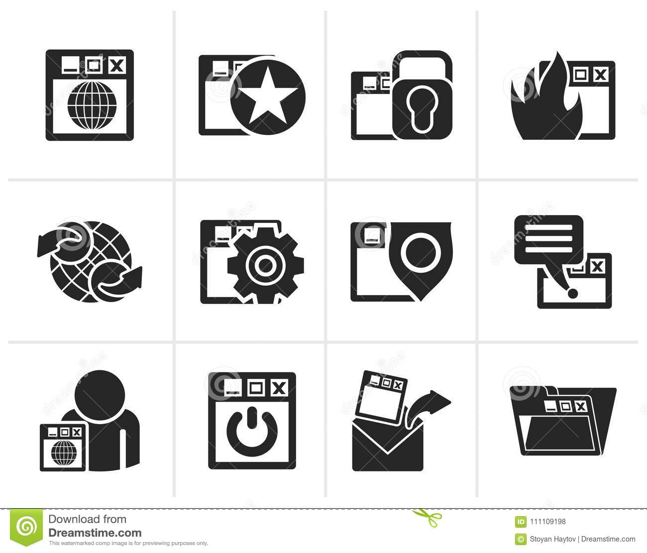 Silhouette Internet, website and Security Icons