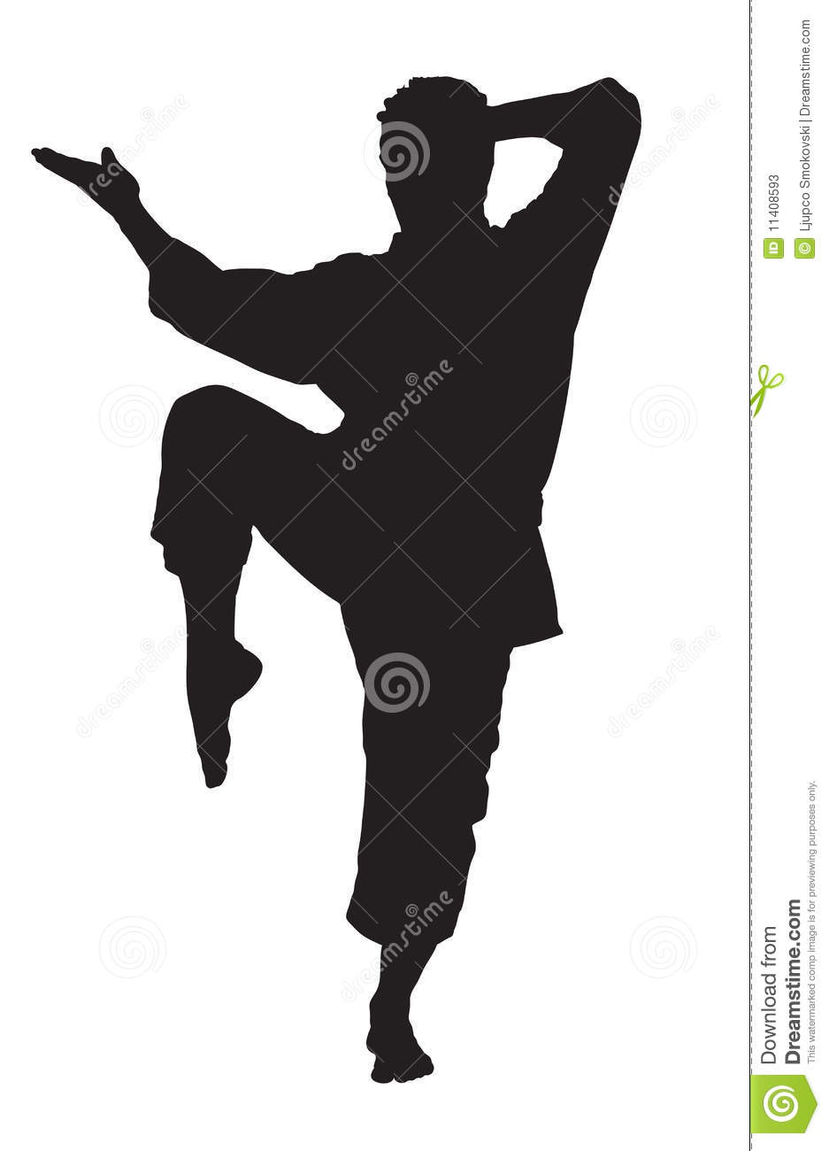 A Silhouette Of A Karate Man Stock Photos - Image: 11408593