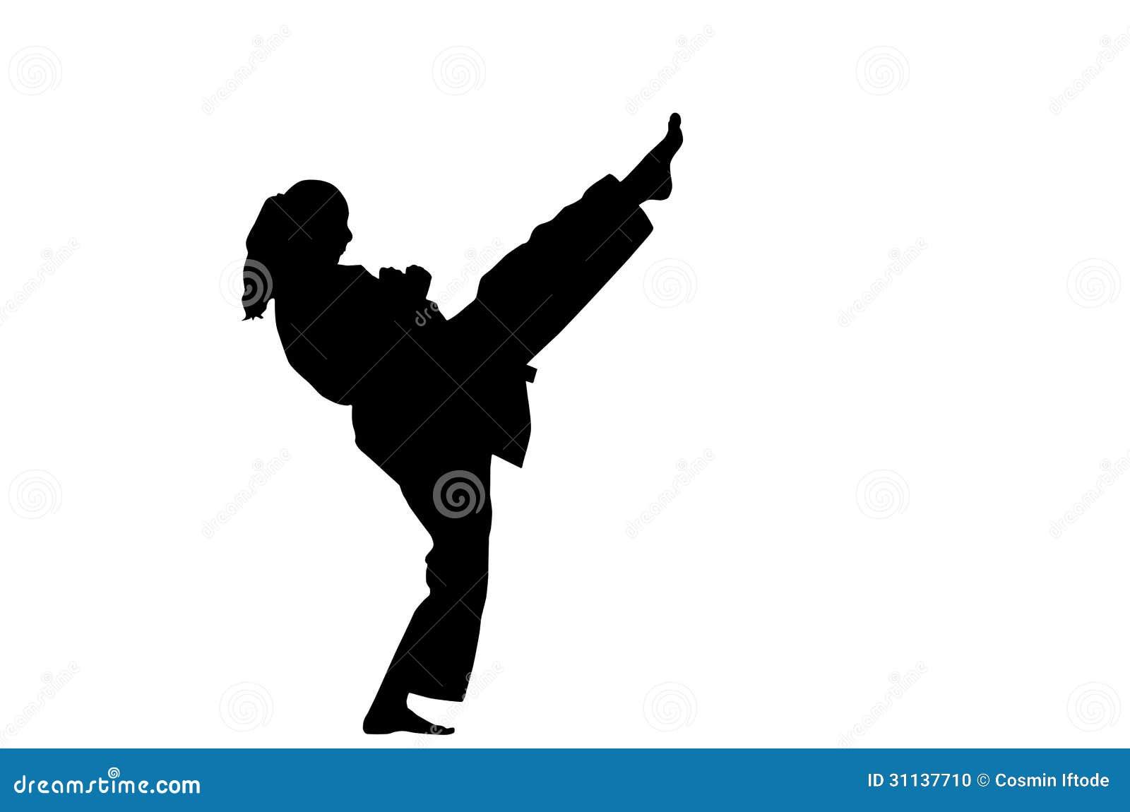 Karate Woman Kick A silhouette of a karate woman