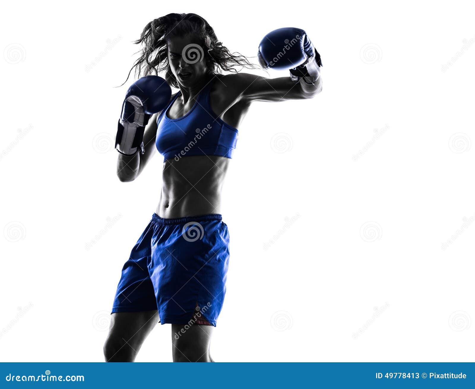 Silhouette kickboxing de boxe de boxeur de femme d isolement