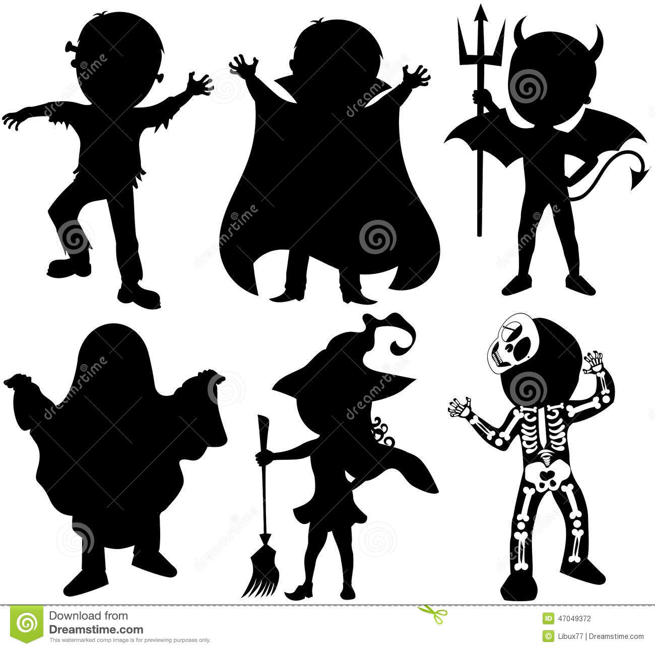 Silhouette Kids Halloween Costume Isolated Stock Vector