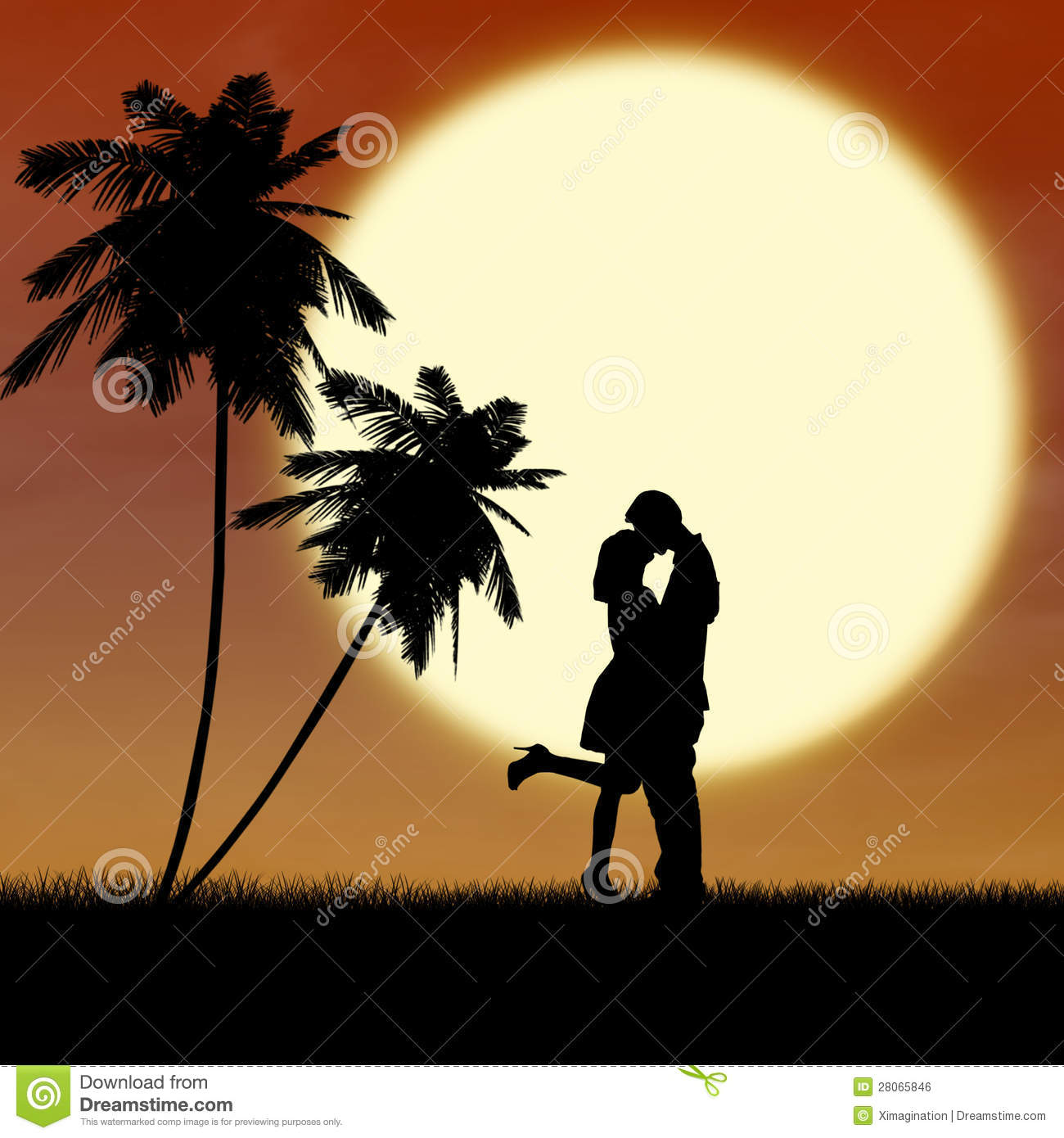 Silhouette Kissing By Sunset At The Beach Royalty Free