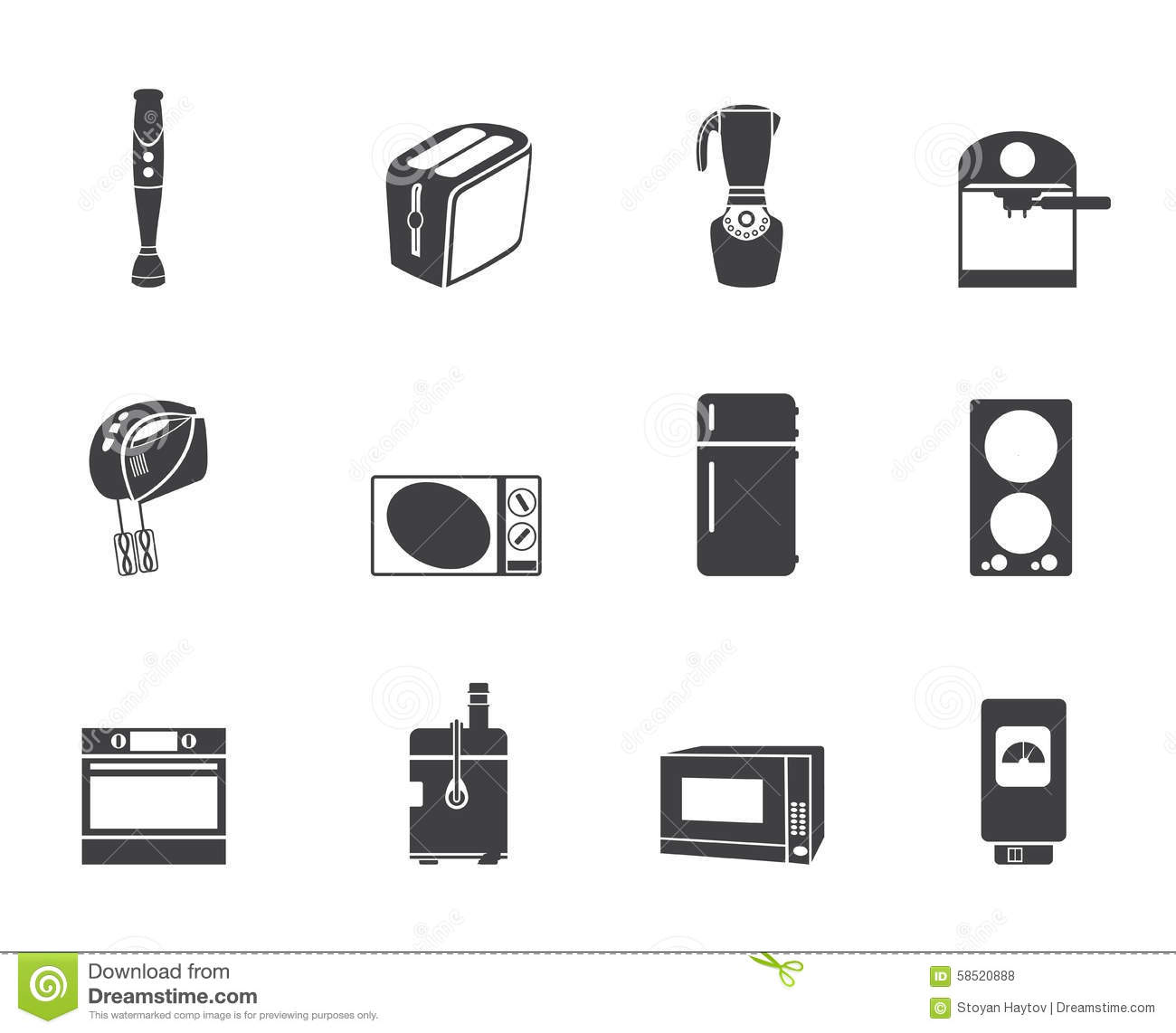 silhouette kitchen and home equipment icons stock vector