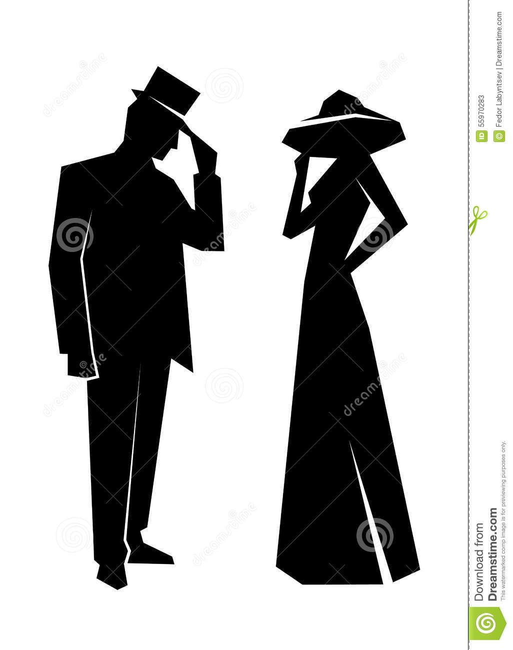 Silhouette Of The Lady And Gentleman Stock Vector - Image ...
