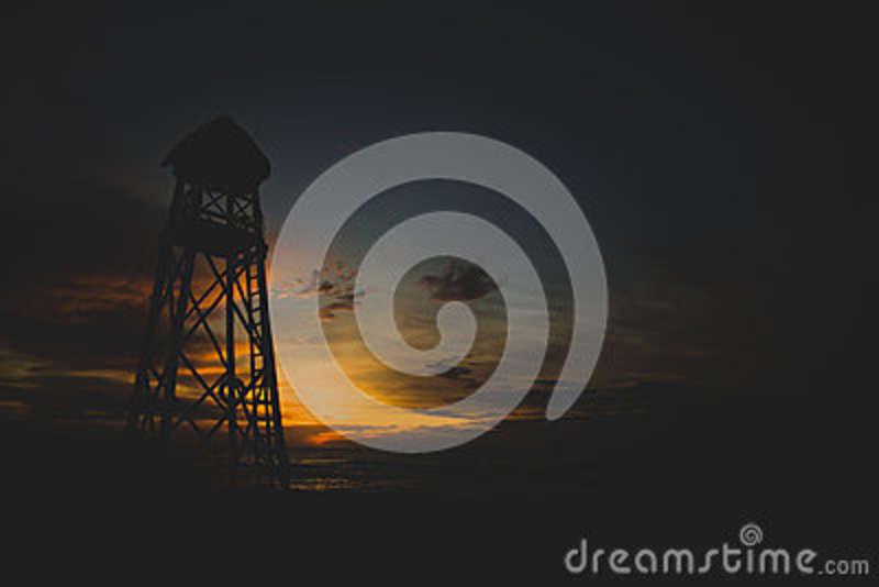 Download Silhouette Of Light Tower Water Reserve Tank During Sunset Stock Photo - Image of stock, outdoors: 84996880