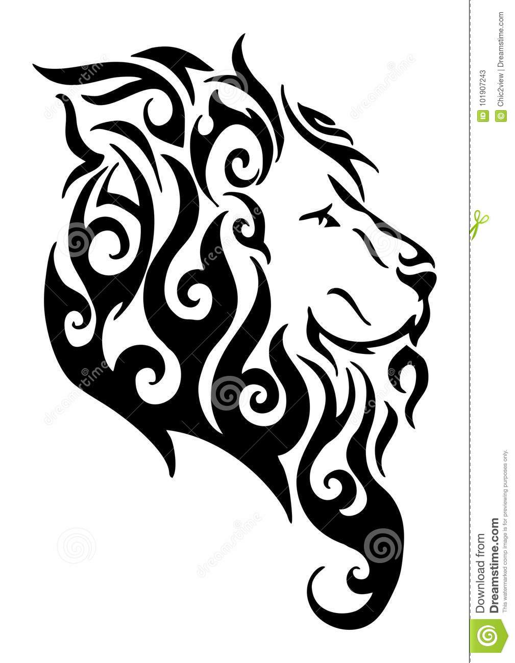 Silhouette Lion Side Head Tribal Tattoo Logo Design From Flame Fire ...