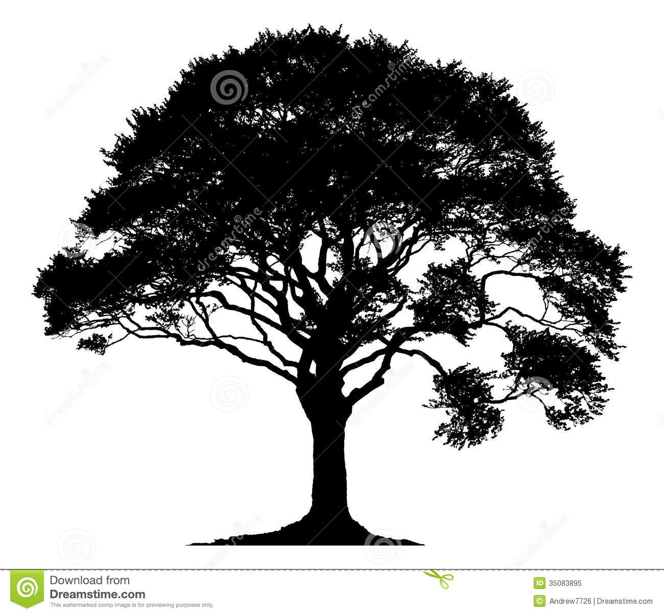 Silhouette Of A Lone Tree Stock Illustration Image Of