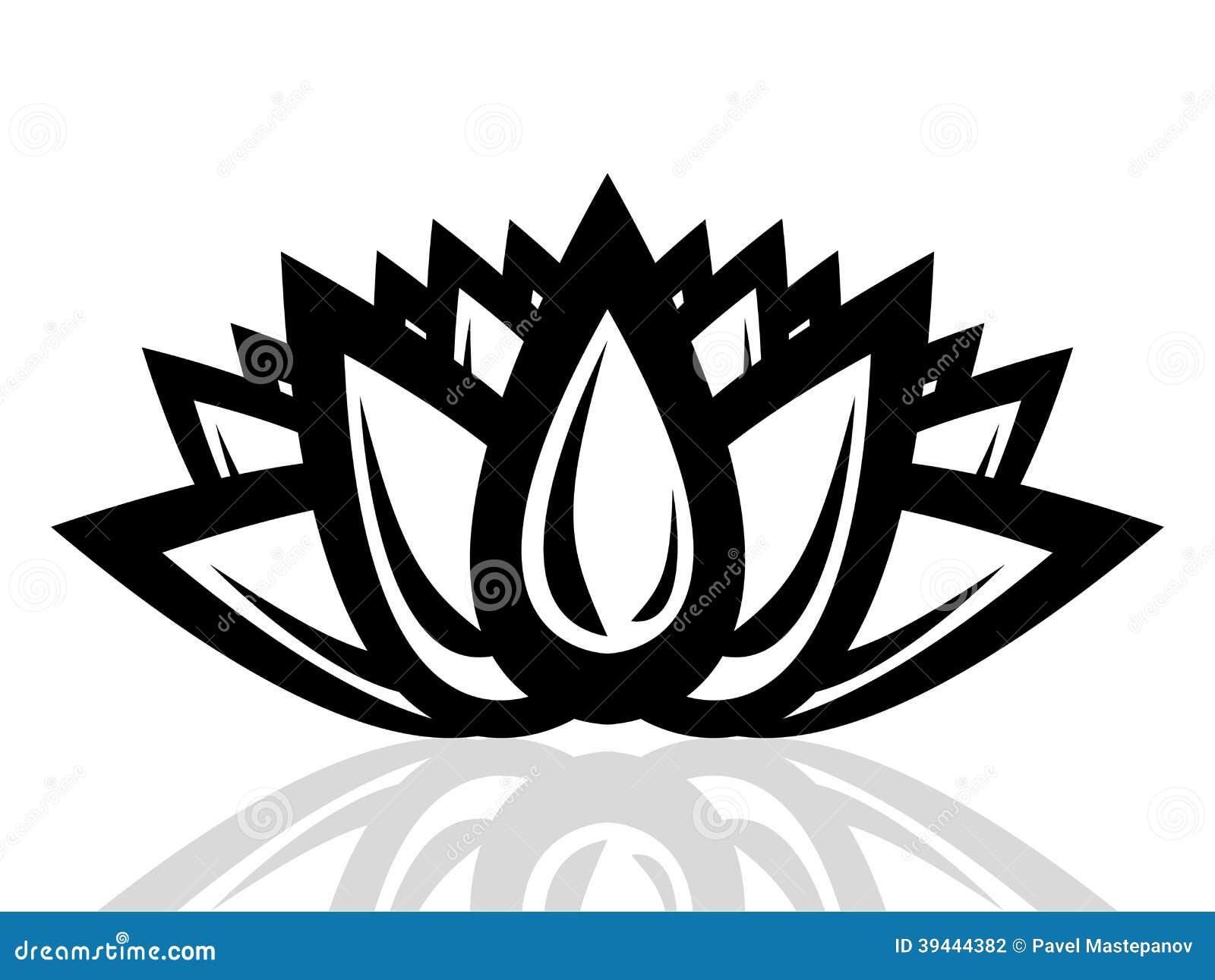 Silhouette Of A Lotus Flower Stock Illustration Illustration Of