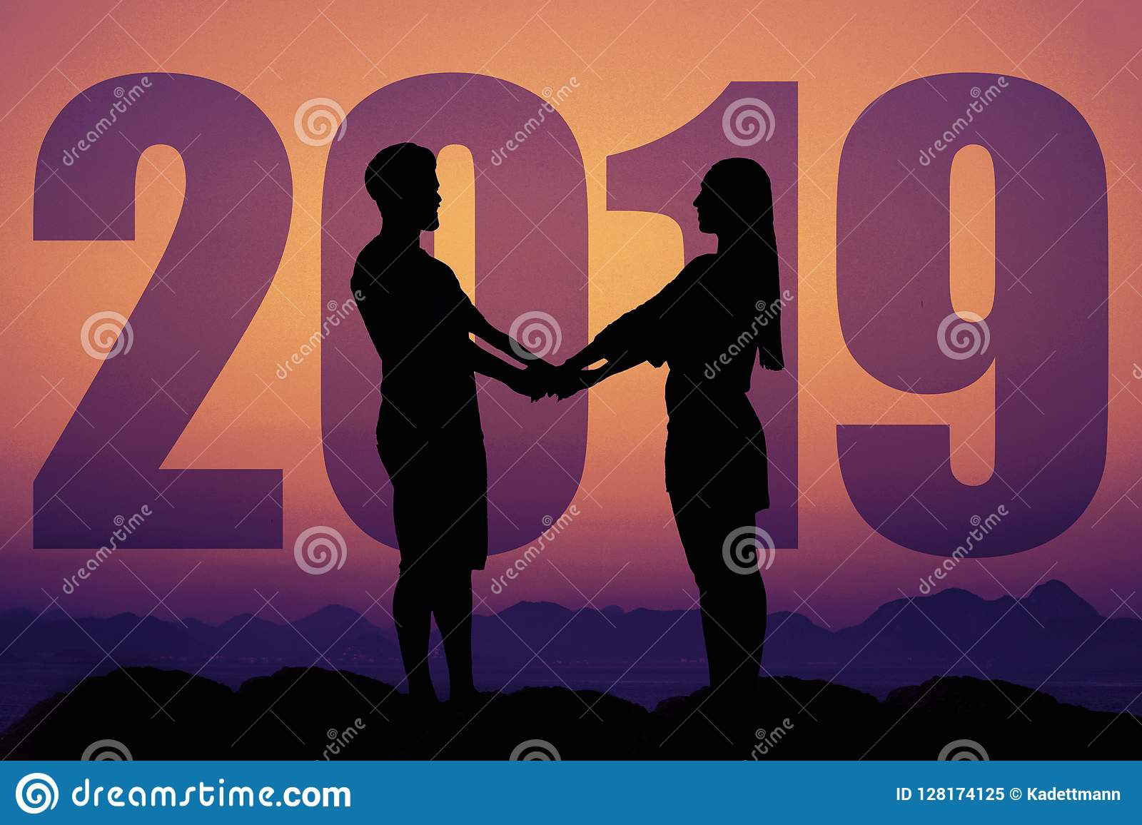 Silhouette Of A Love Couple At Sunset With New Year 2019 Stock Image