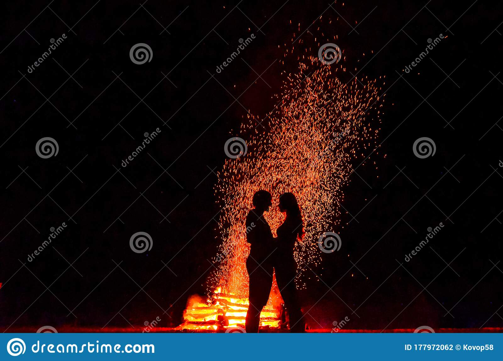 Silhouette Of Loving Couple In Fire Background Original Wallpaper Valentine Or Wedding Theme Stock Photo Image Of Outdoor Background 177972062