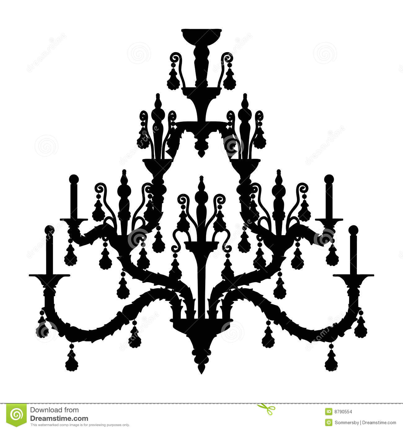 silhouette of luxury chandelier stock vector