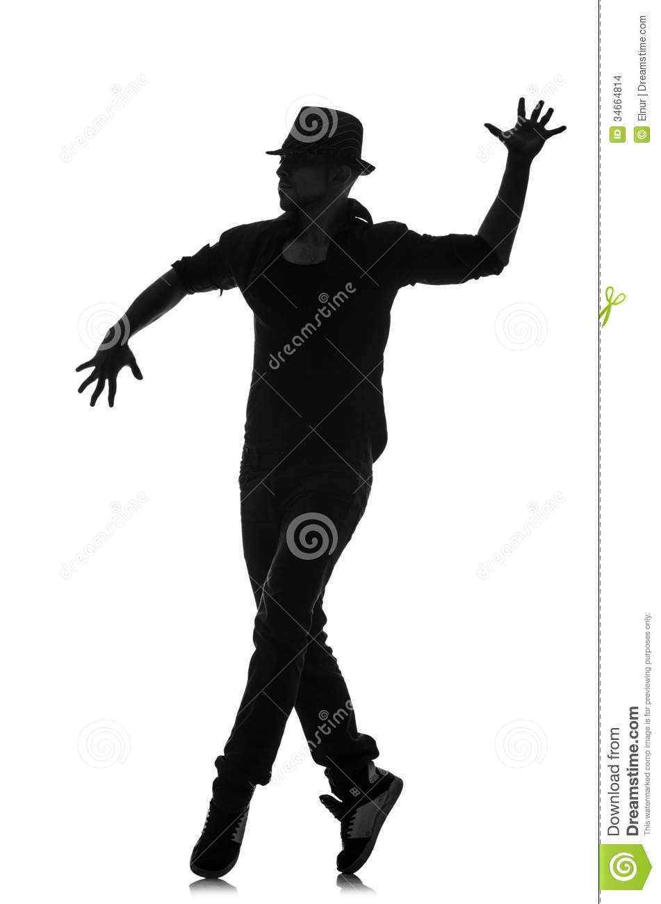 Silhouette of male dancer stock photo. Image of athlete ...