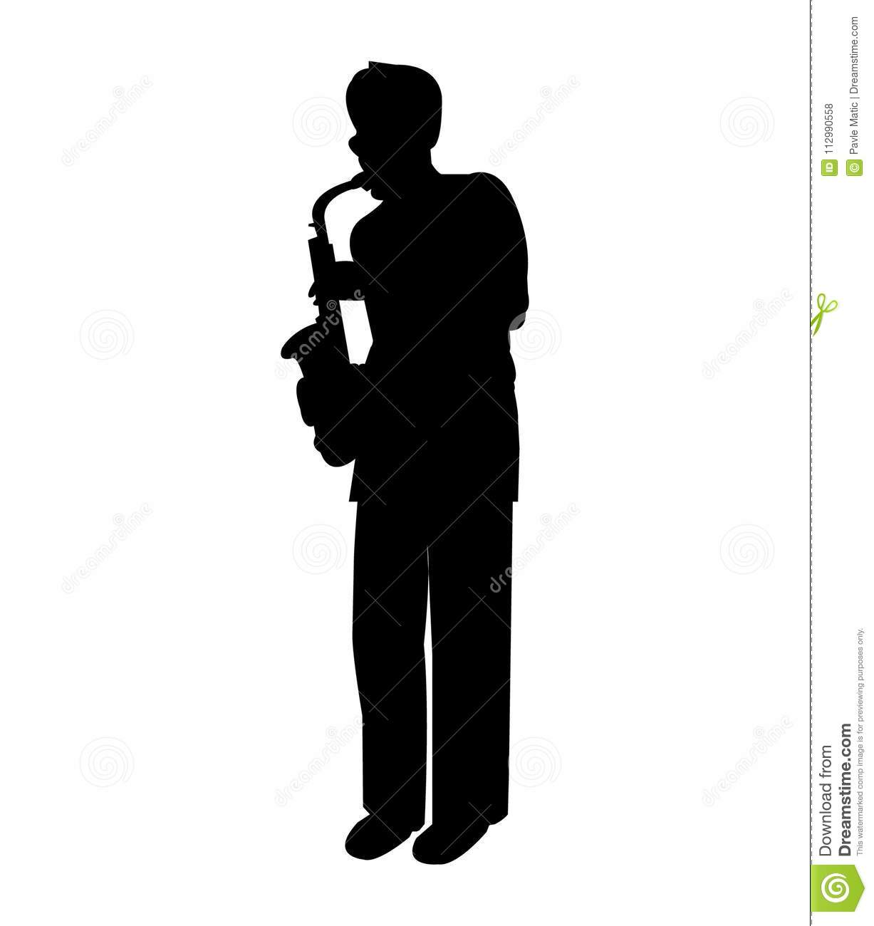 Silhouette of a male saxophone player