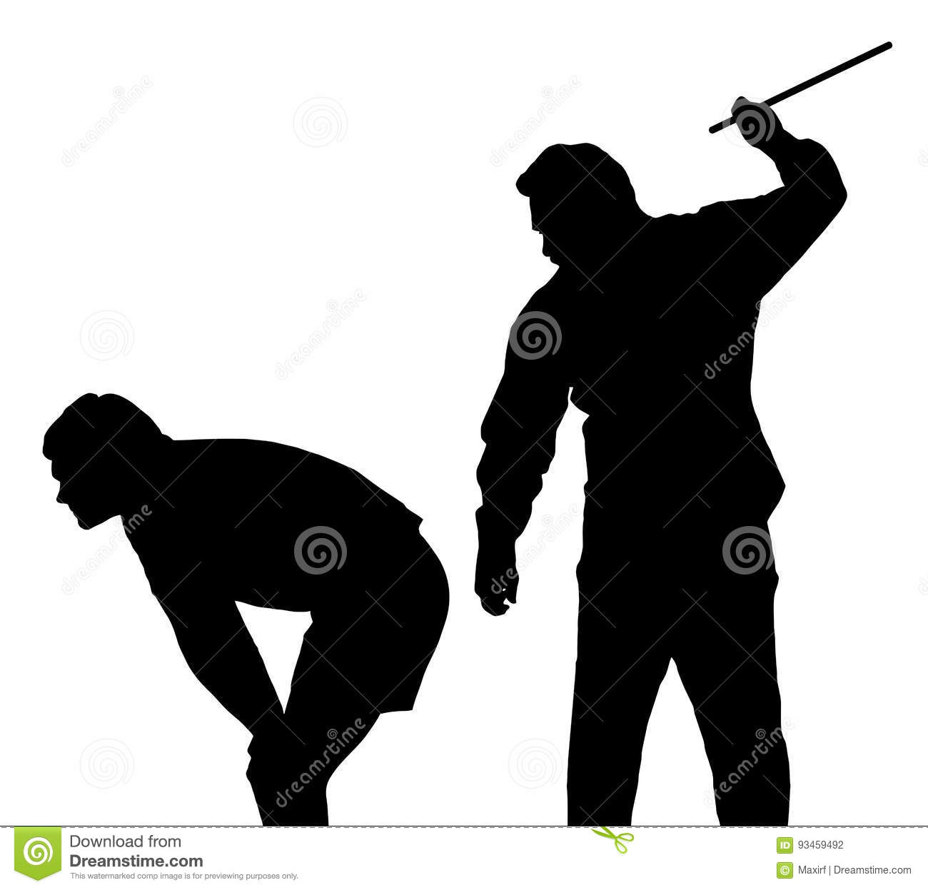 Silhouette of a men applying corporal punishment on teenage boy