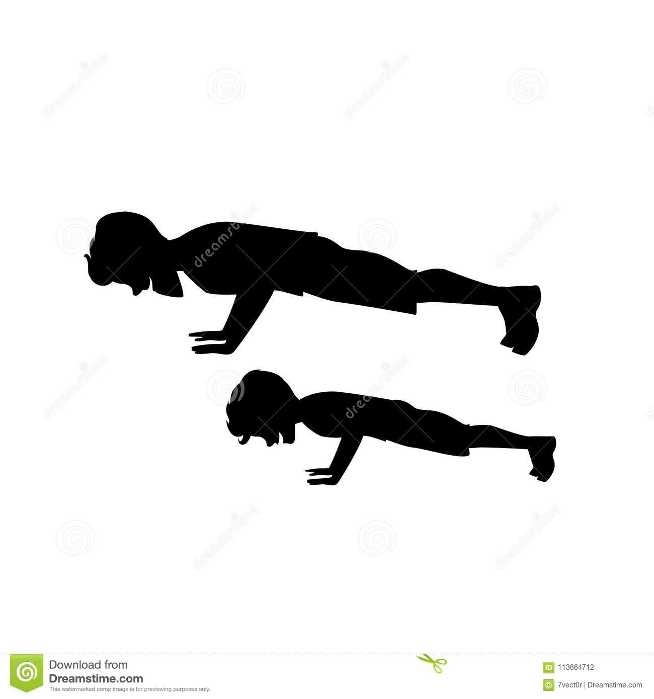 Silhouette Of Man And Boy Father And Son Doing Push Ups