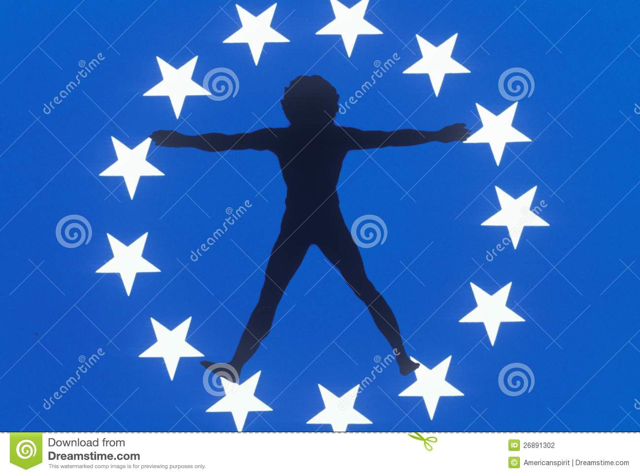 Silhouette of Man in Circle of Stars