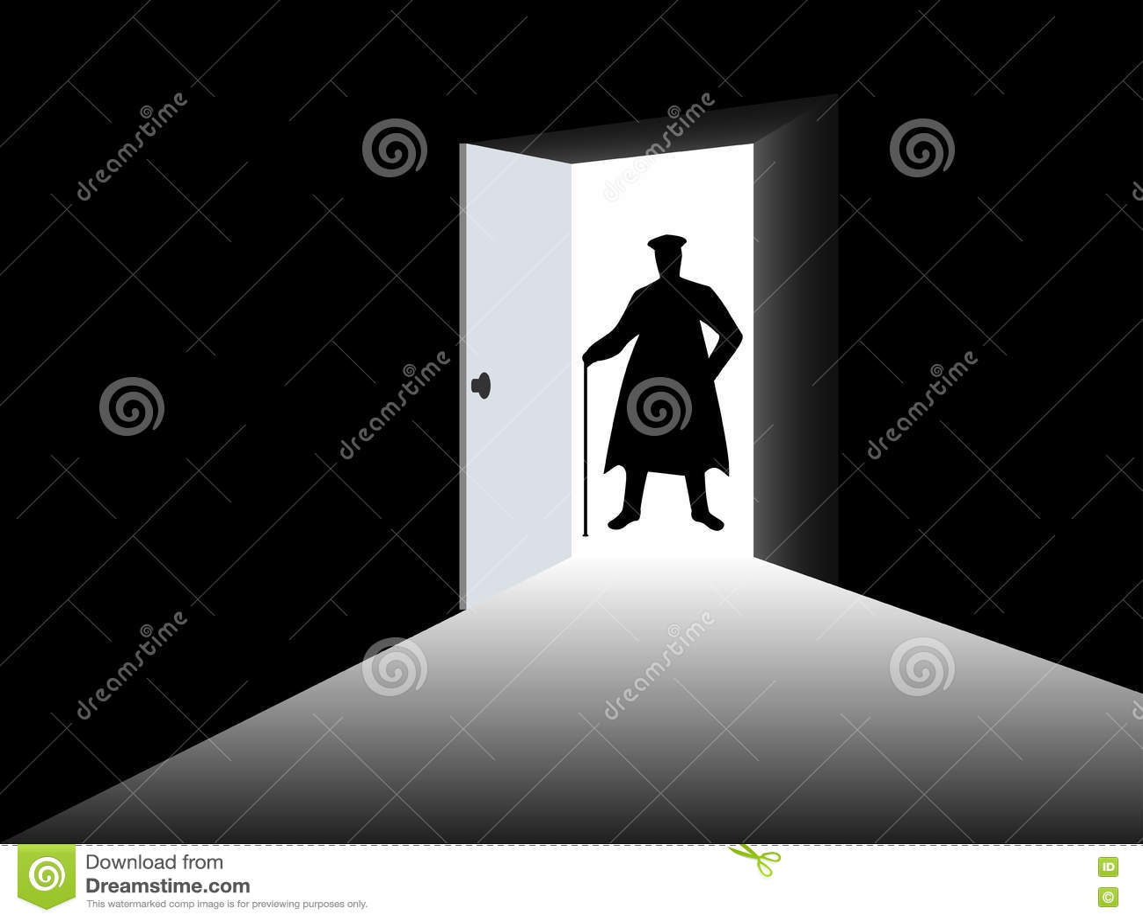 Open Door Dark Room silhouette of a man in a cloak in the open door. a man with a cane