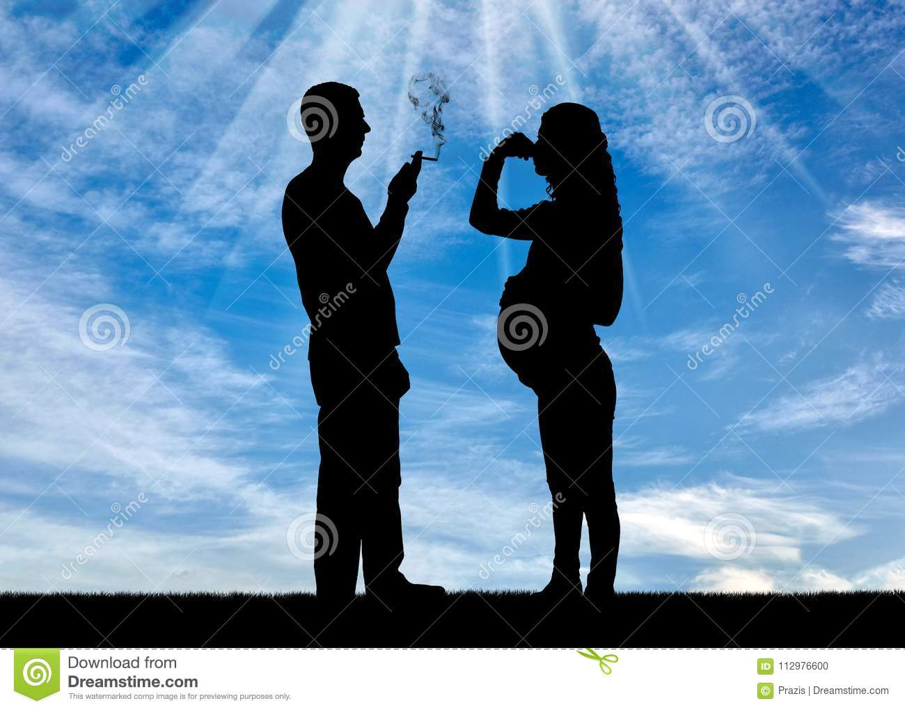 Silhouette of a man egoist smoking near a pregnant woman. She covered her nose with her hand from the smoke