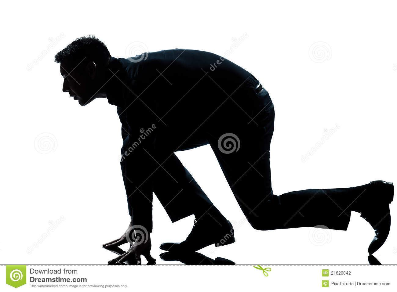 Silhouette Man Full Length Ready To Run Stock Photography