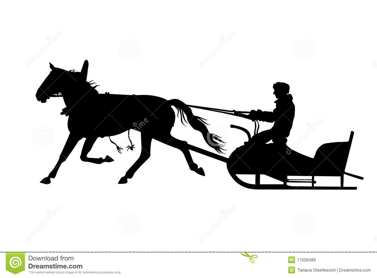 Silhouette Of Man With Horse Drawn Sled Stock Illustration