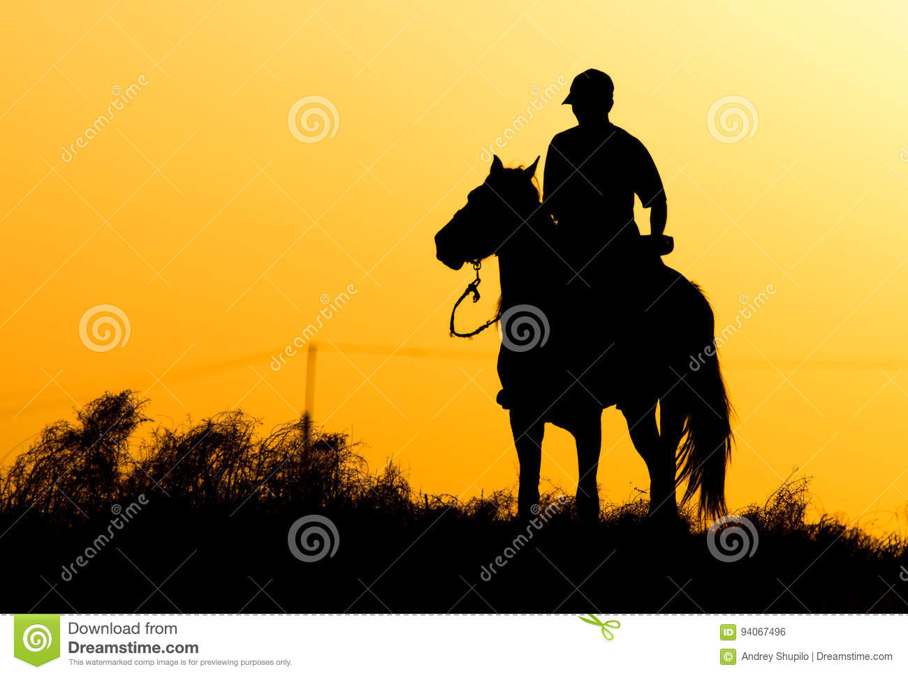 Silhouette of a man on a horse at sunset