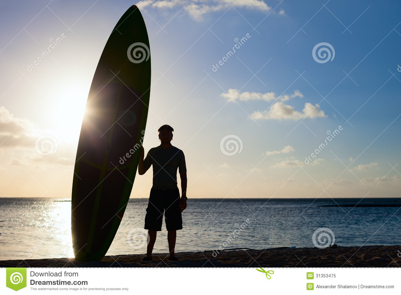 Silhouette Of A Man With Paddle Board Royalty Free Stock