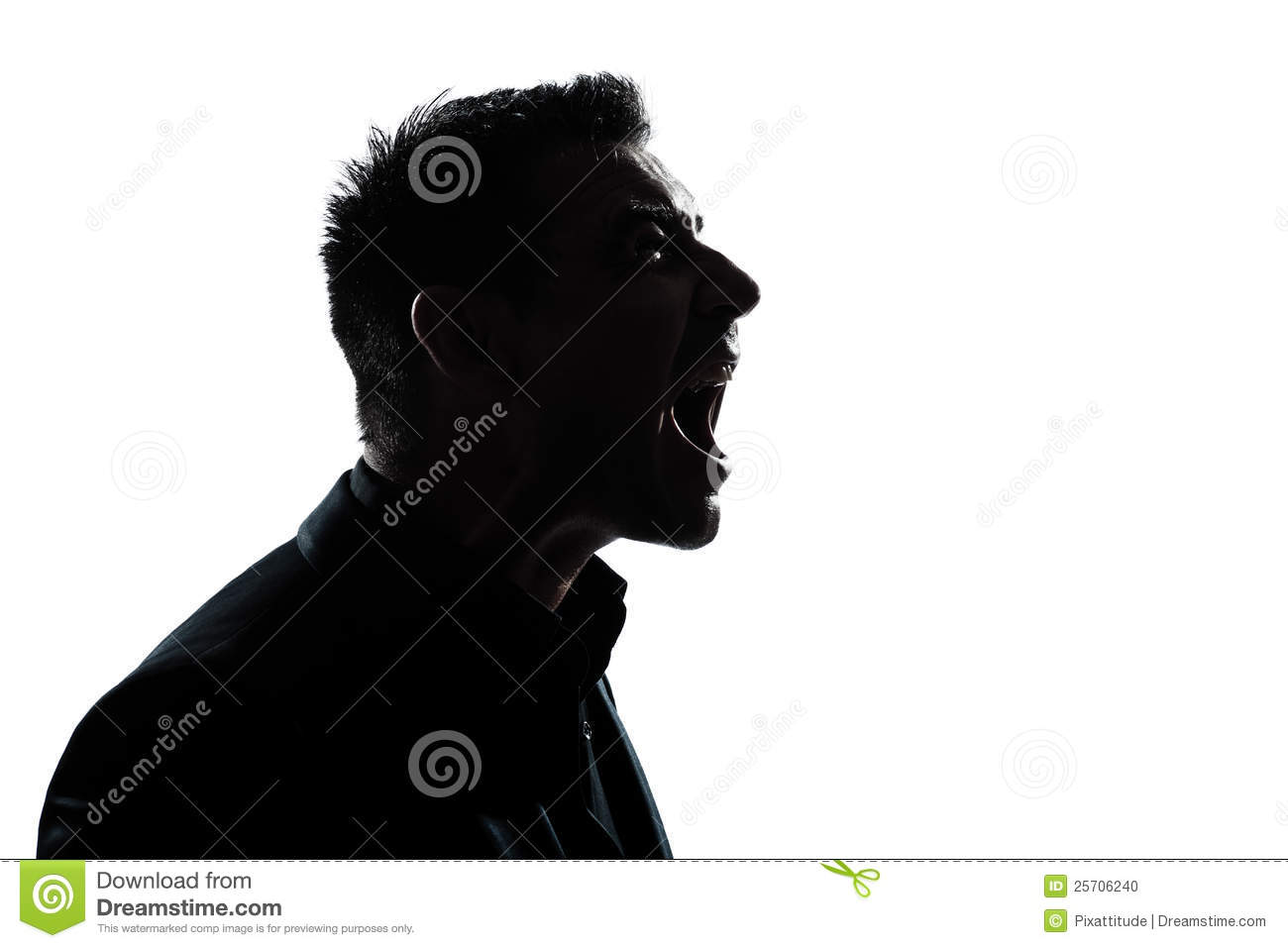 Silhouette Man Portrait Profile Screaming Angry Stock Photo ...