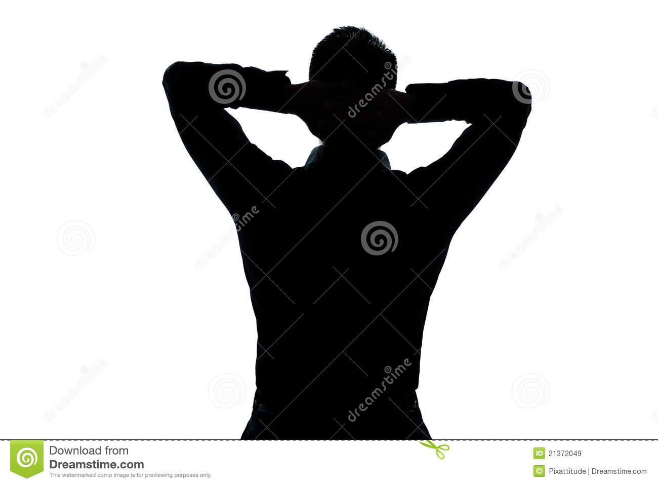 silhouette man portrait stretching resting stock image
