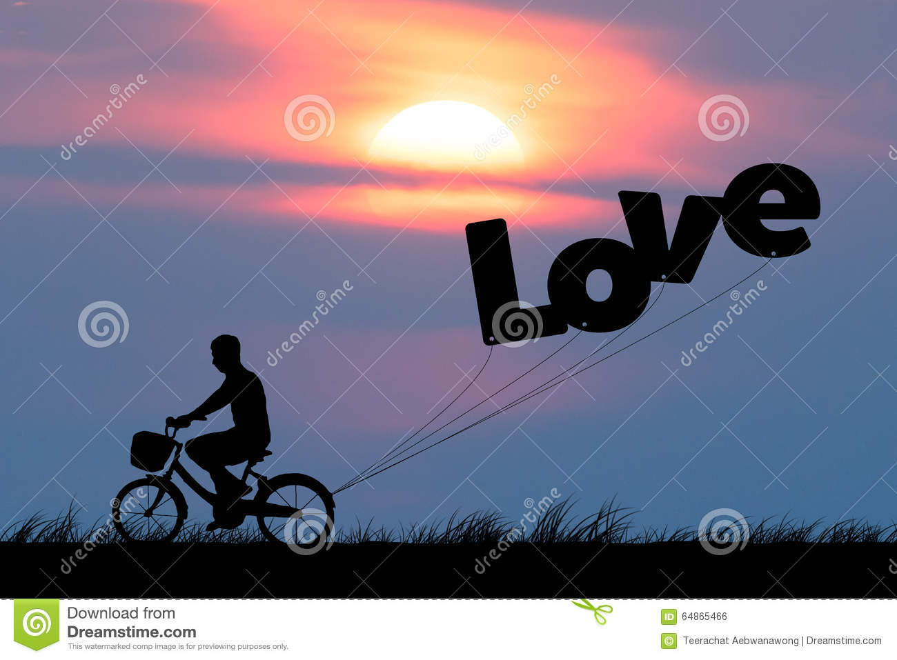 Silhouette of man ride on bicycle with air balloons for wording LOVE at sunset sky (Love valentine concept)