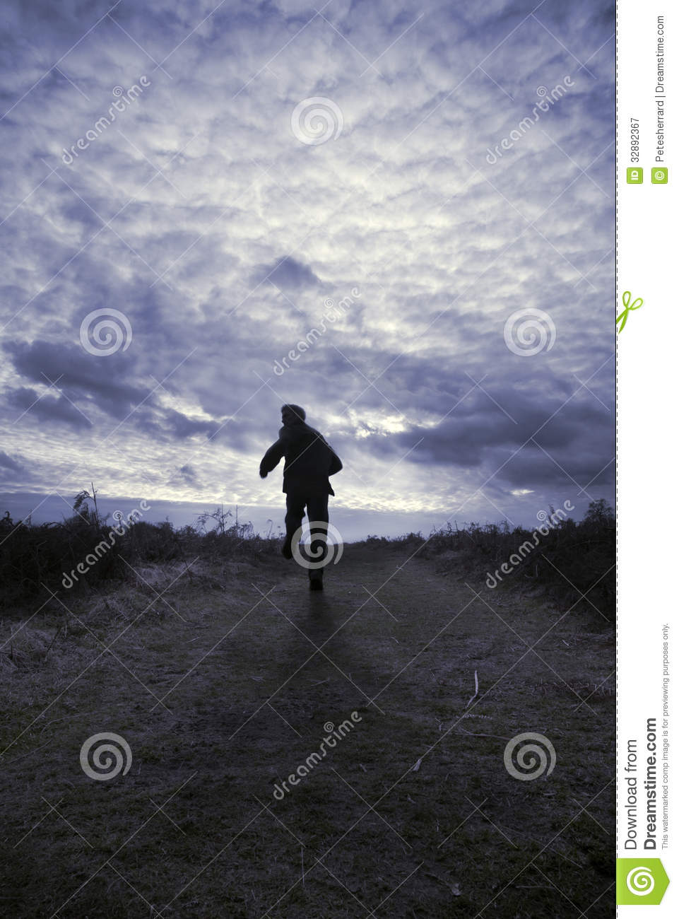 Silhouette Of A Man Running In A Field Royalty Free Stock ... Escaping Running