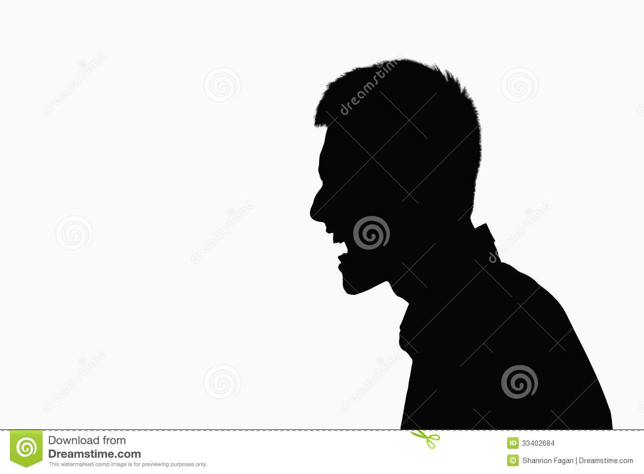 Silhouette Of Man Screaming. Stock Images - Image: 33402684