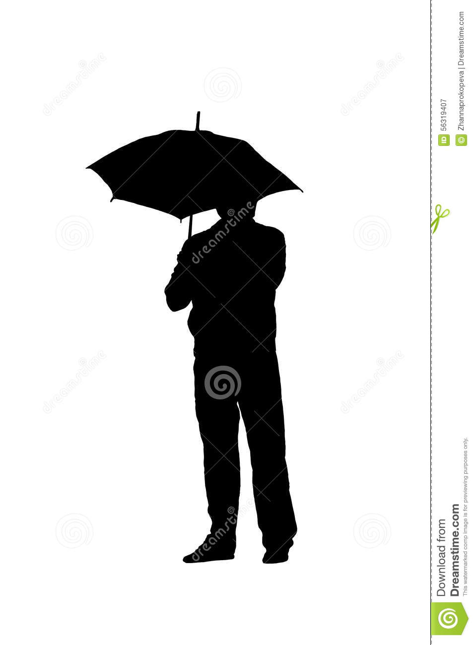 silhouette of a man with an umbrella stock illustration