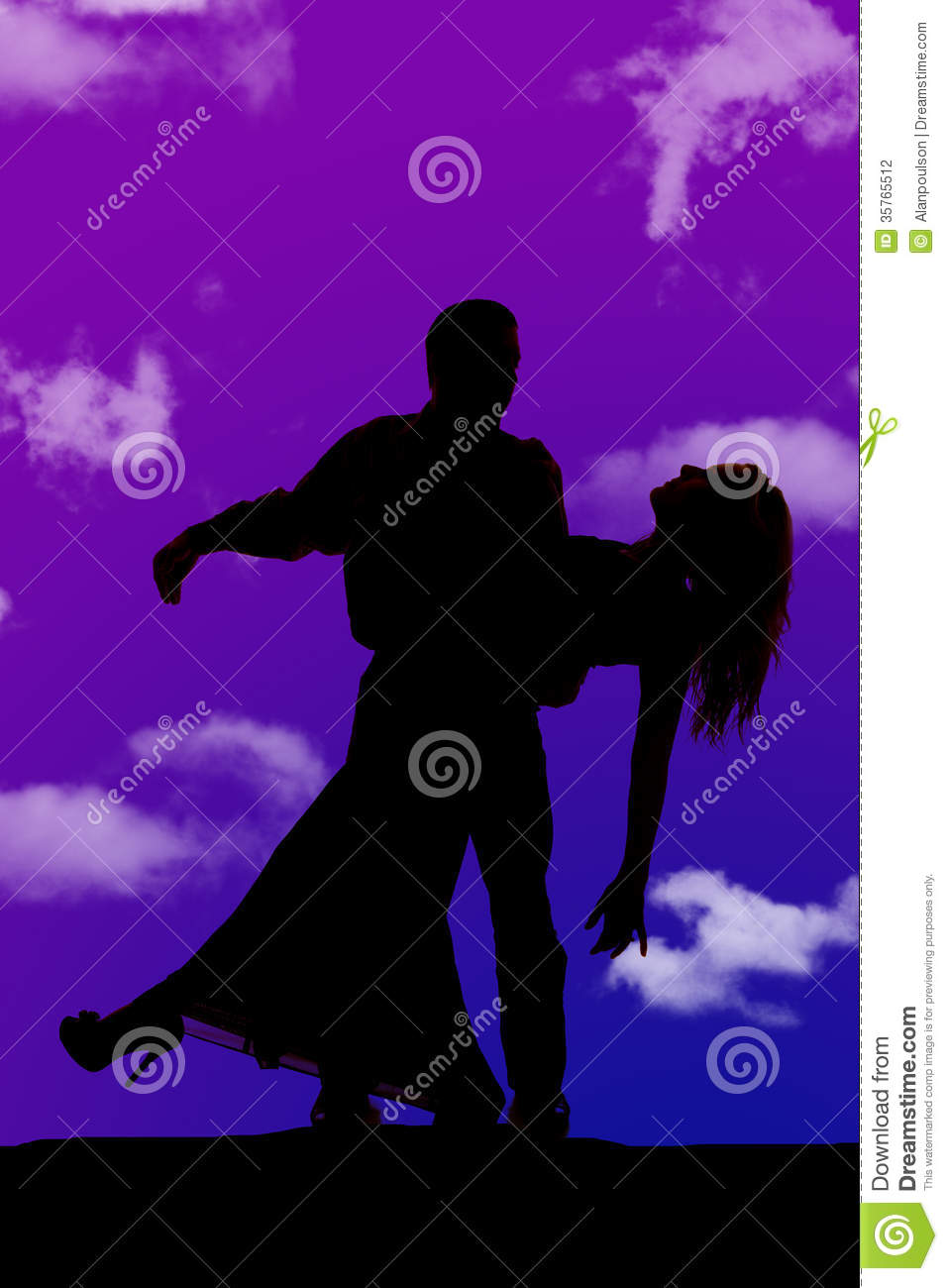 Silhouette Man Woman Dance Tip Stock Photography - Image ...