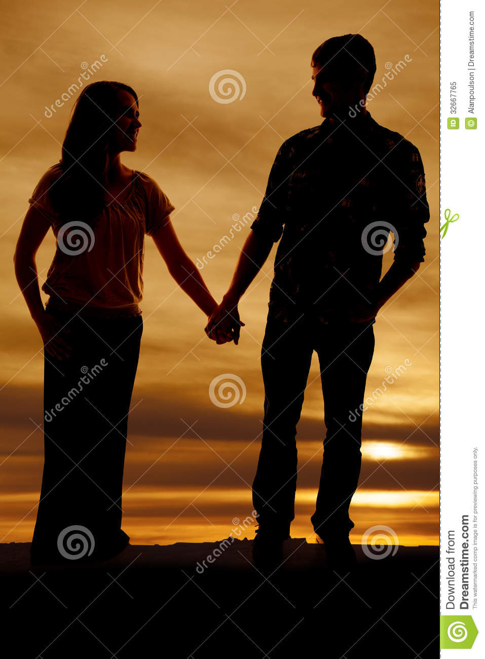 Silhouette Of Man And Woman Holding Hands Royalty Free ...