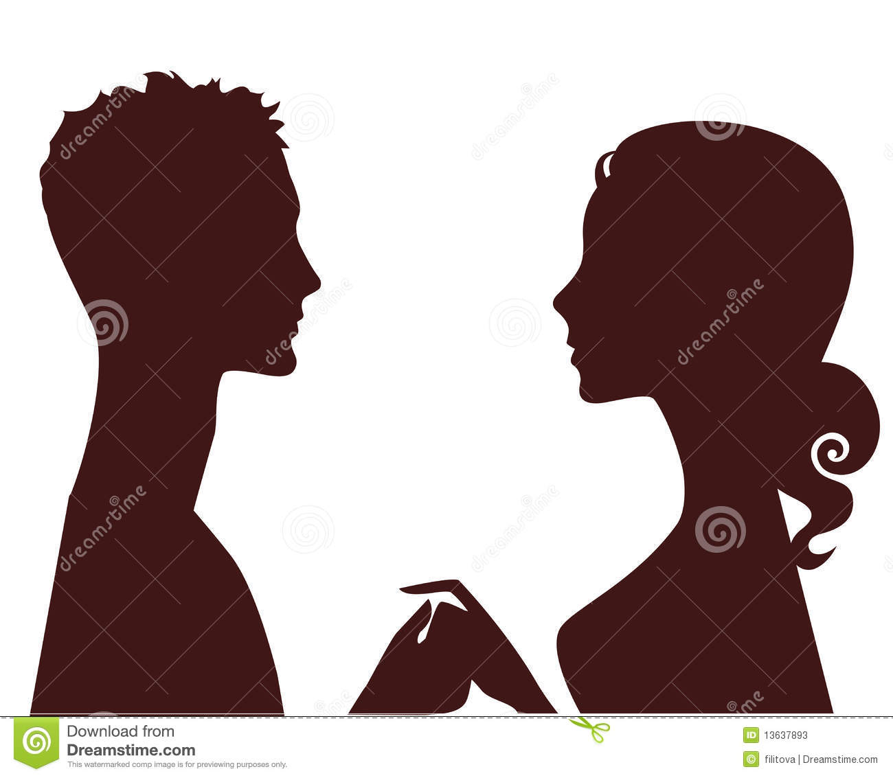 Silhouette of man and woman in profile stock photos image 13637893
