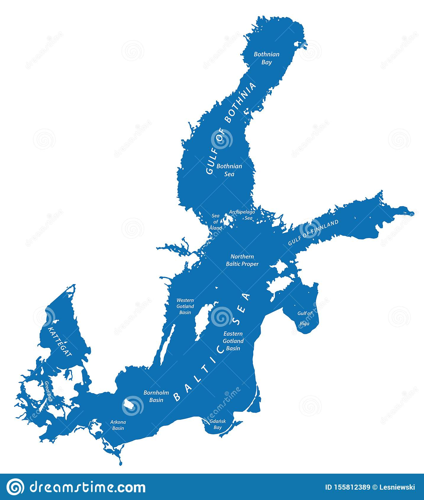 Silhouette Map Of The Baltic Sea In Northern Europe Stock Vector Illustration Of Gulf Locations 155812389