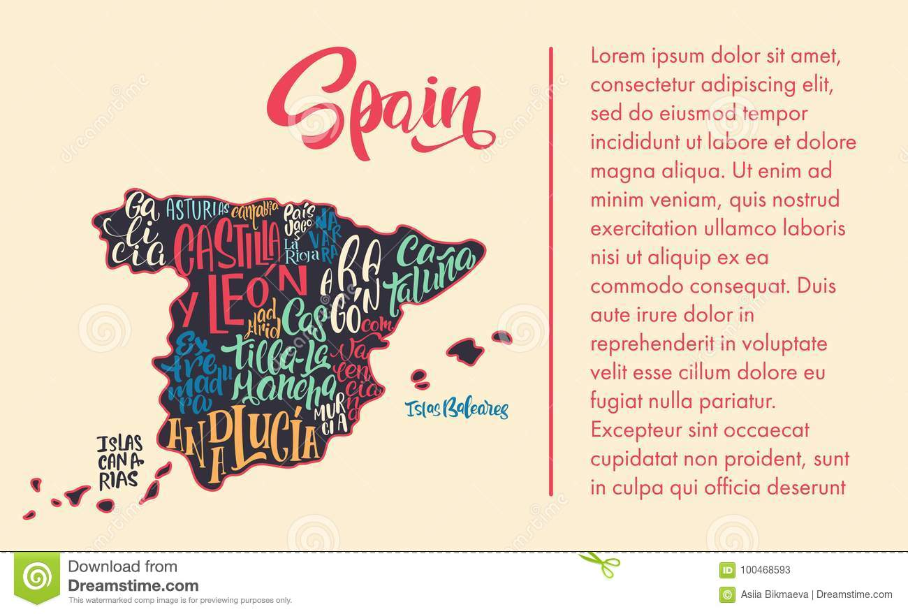 Map Of Spain By Region.Silhouette Of The Map Of Spain With Hand Written Names Of Region