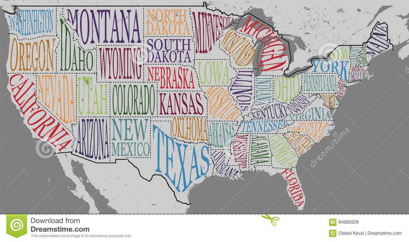 Silhouette Of The Map Of USA With Handwritten Names Of States - Map of the usa with names