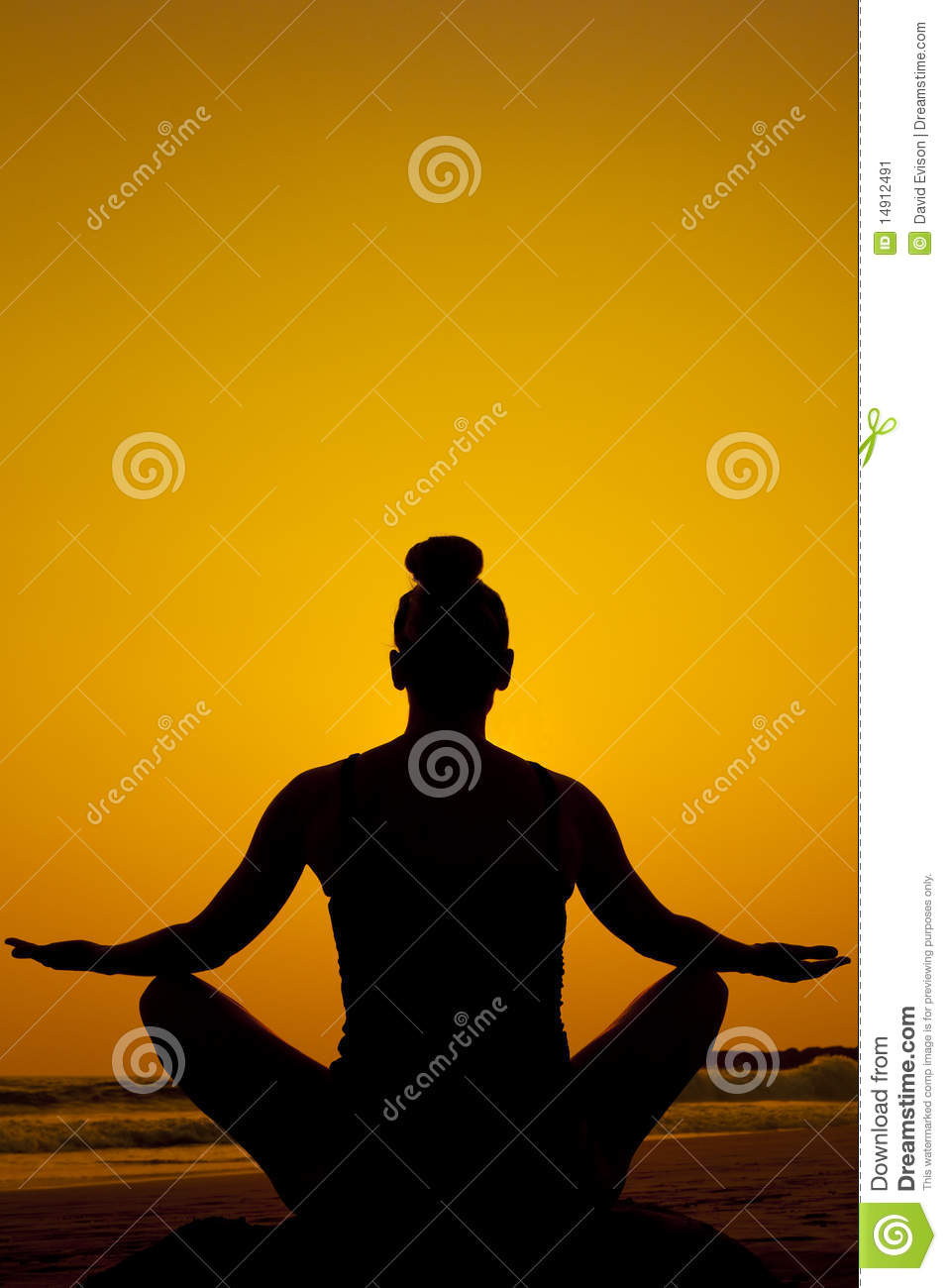 Silhouette of a women doing a meditation yoga pose on the beach Yoga Meditation Pose Silhouette