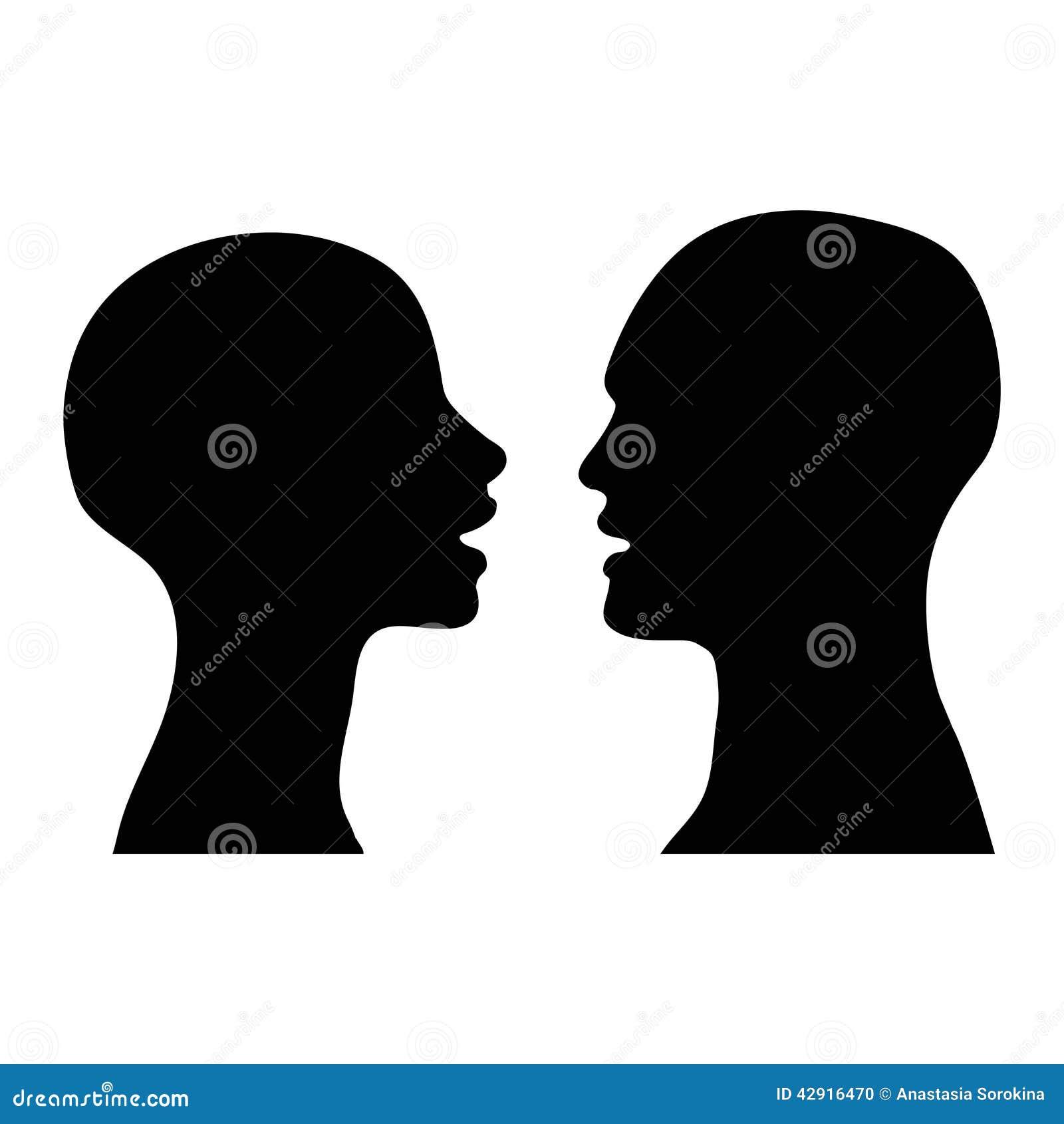 silhouette men women talking stock illustration
