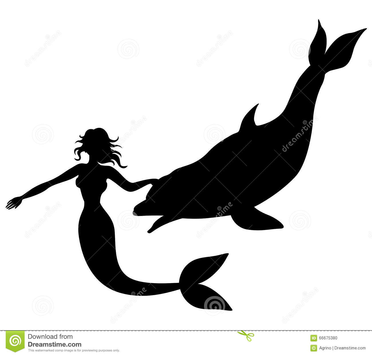 Vector illustrations of silhouette of mermaid swimming with dolphin.