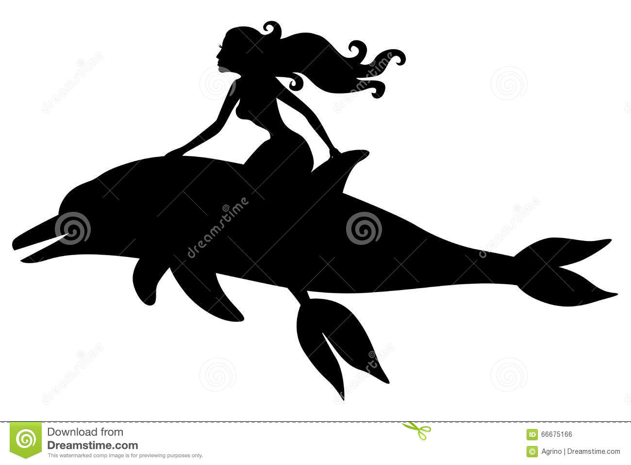 Silhouette Of A Mermaid Riding A Dolphin Stock Vector - Image ...
