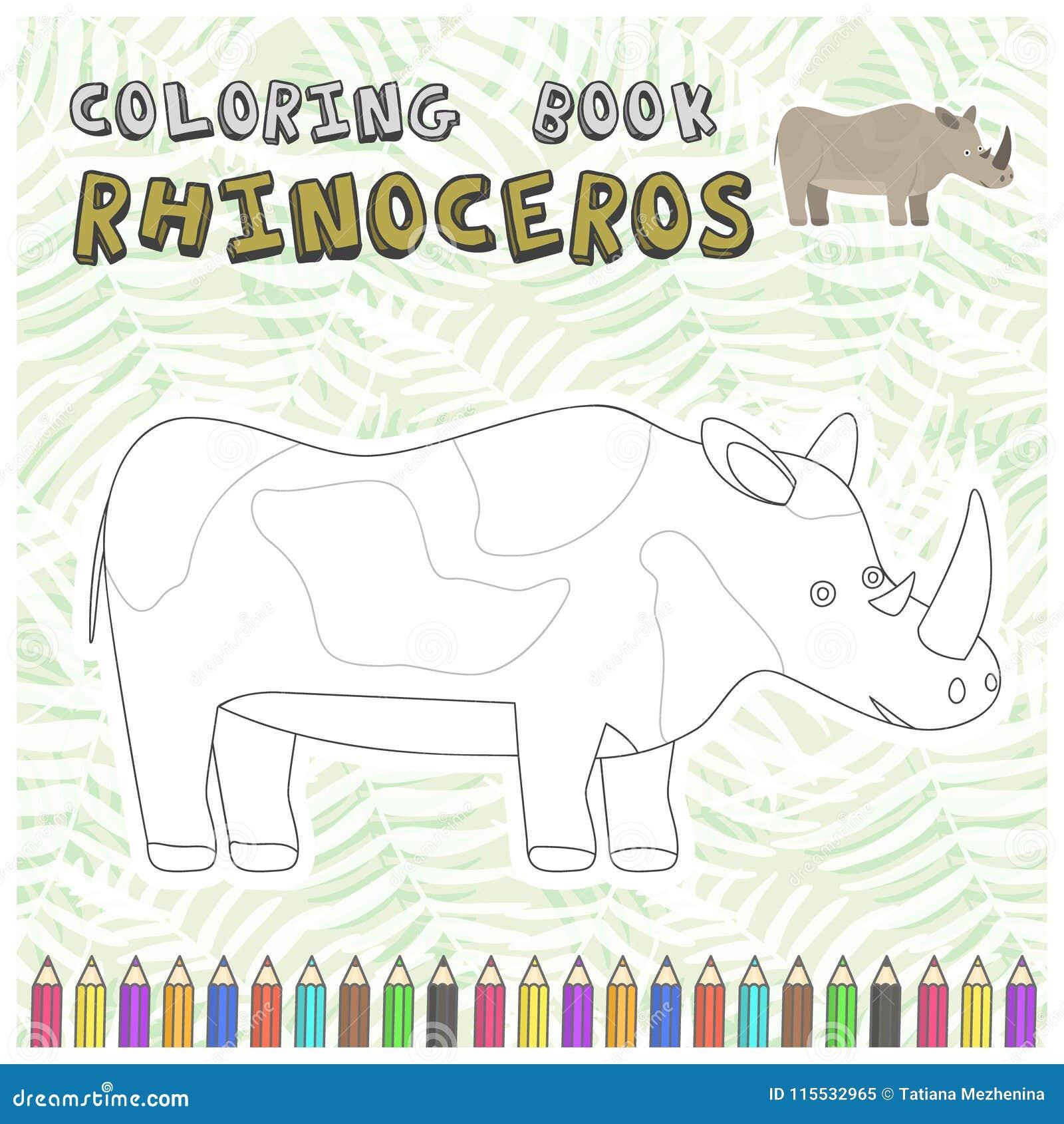 Coloriage En Ligne Rhinoceros.Silhouette Mignonne De Rhinoceros De Bande Dessinee Pour Le