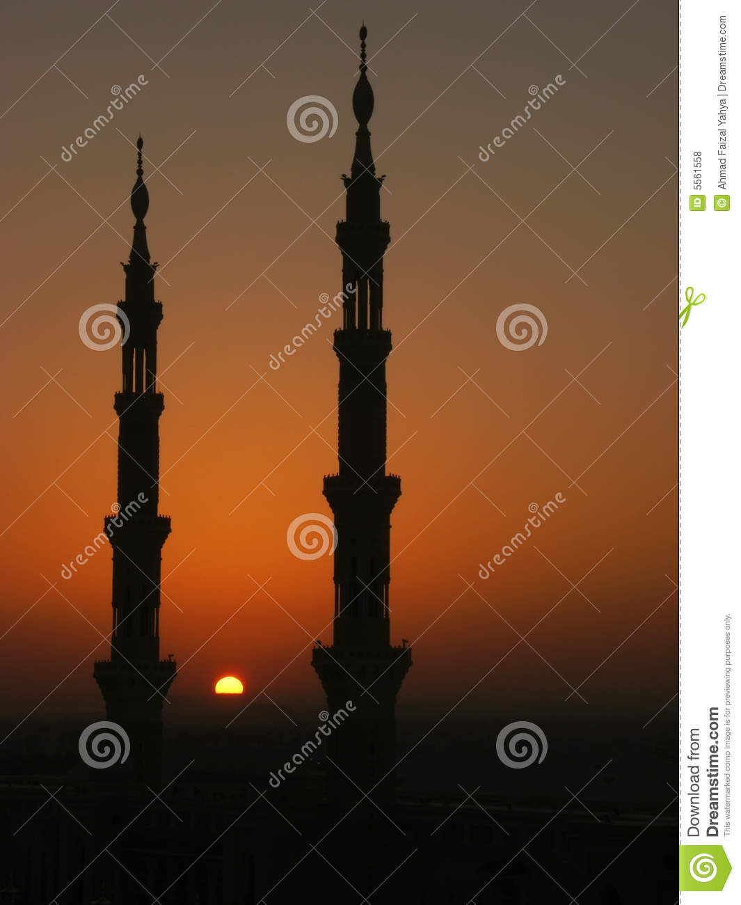 Silhouette of minarets of Nabawi mosque