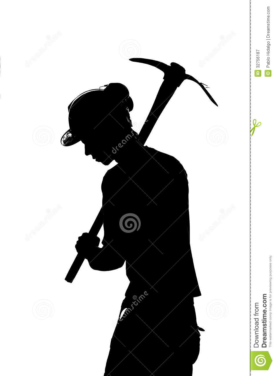 Silhouette of a mine worker with helmet royalty free stock