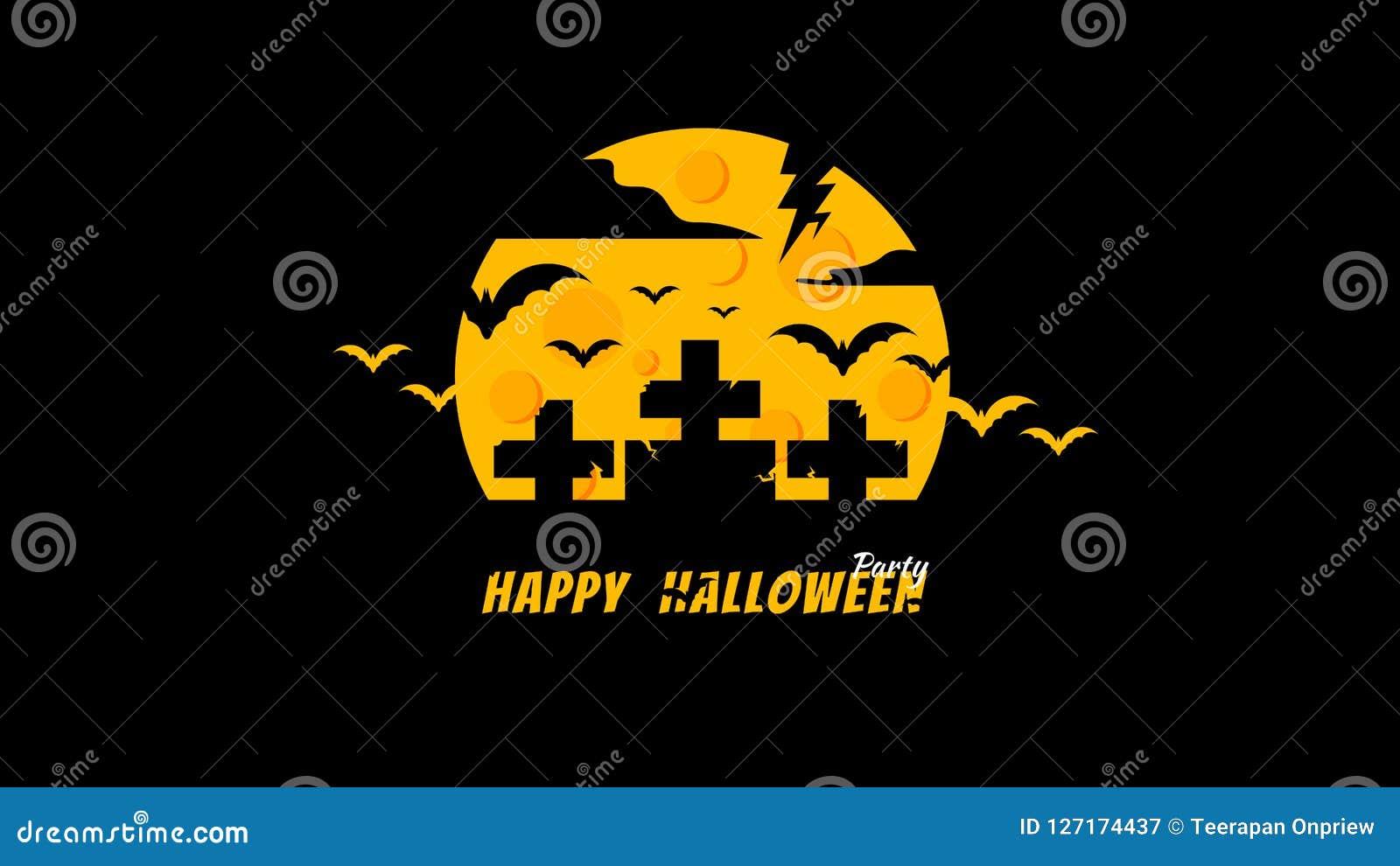 Silhouette Minimal Halloween Night Party Graveyard Wallpaper