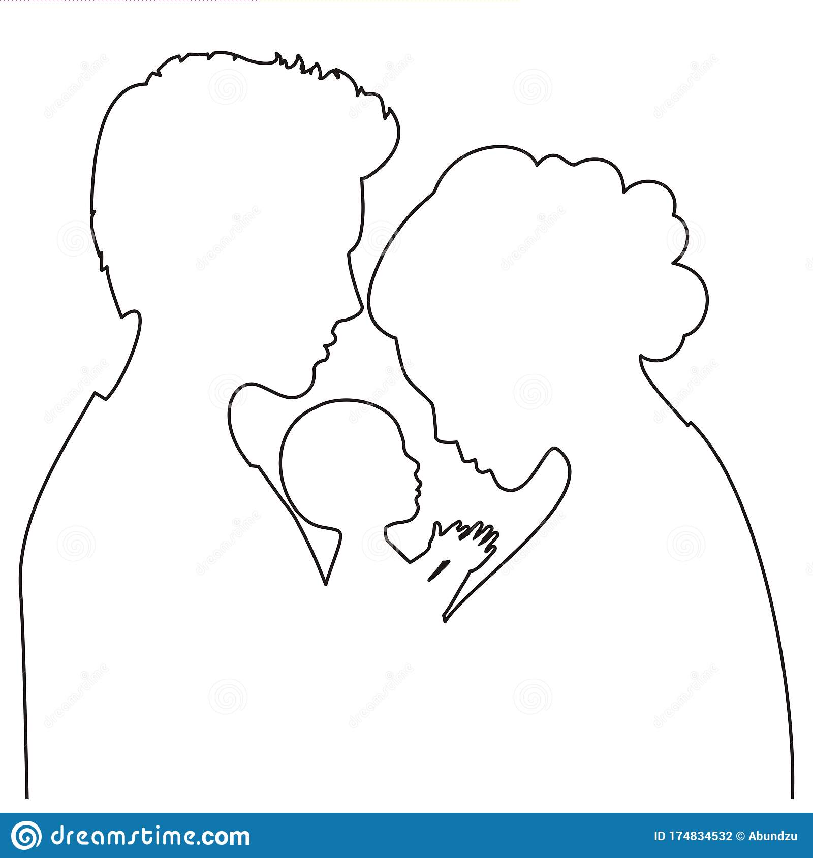 Silhouette Of Mom Dad Baby Together Stock Vector Illustration Of Long Care 174834532