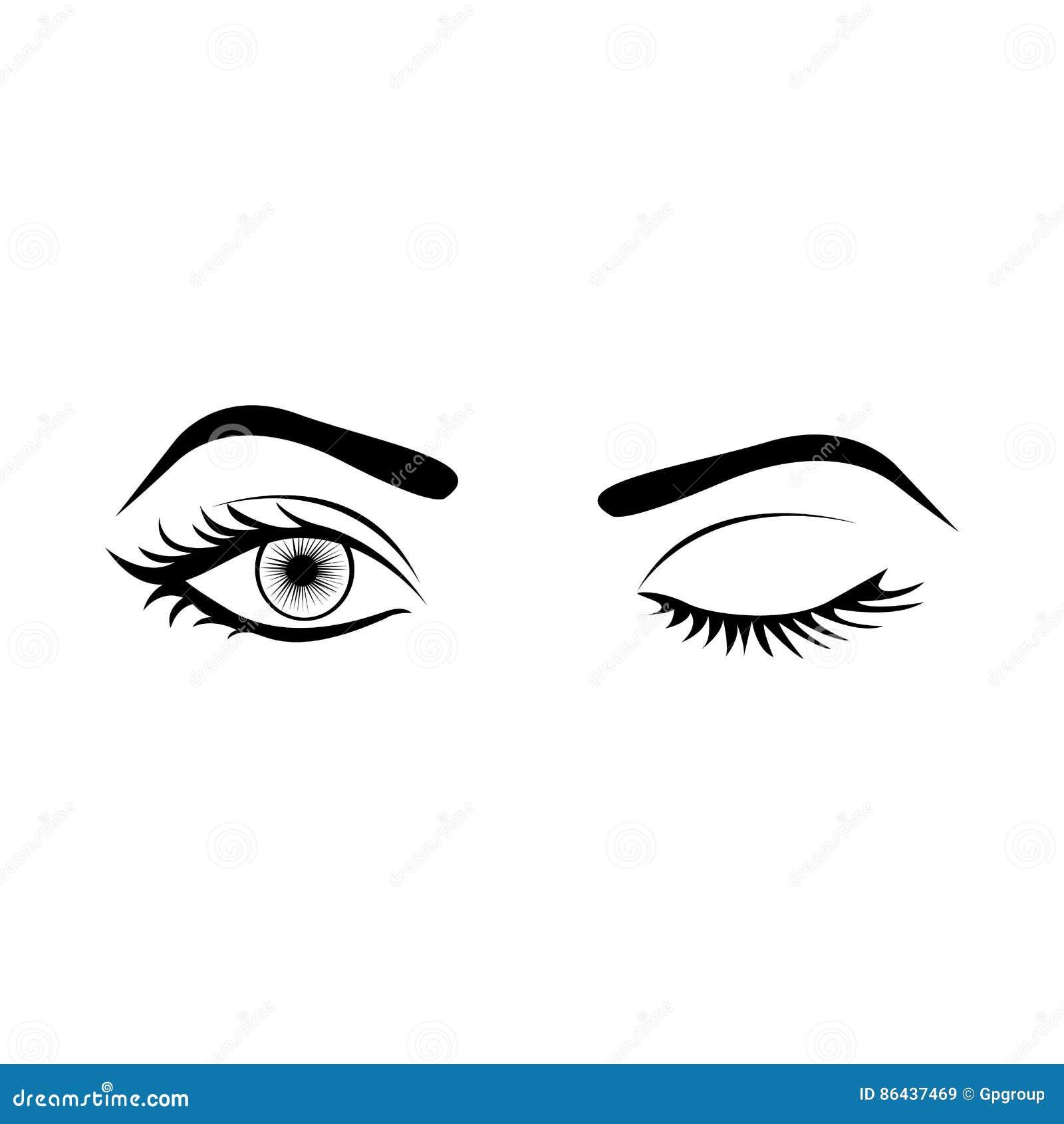 Silhouette monochrome avec l oeil de femme de clin d oeil