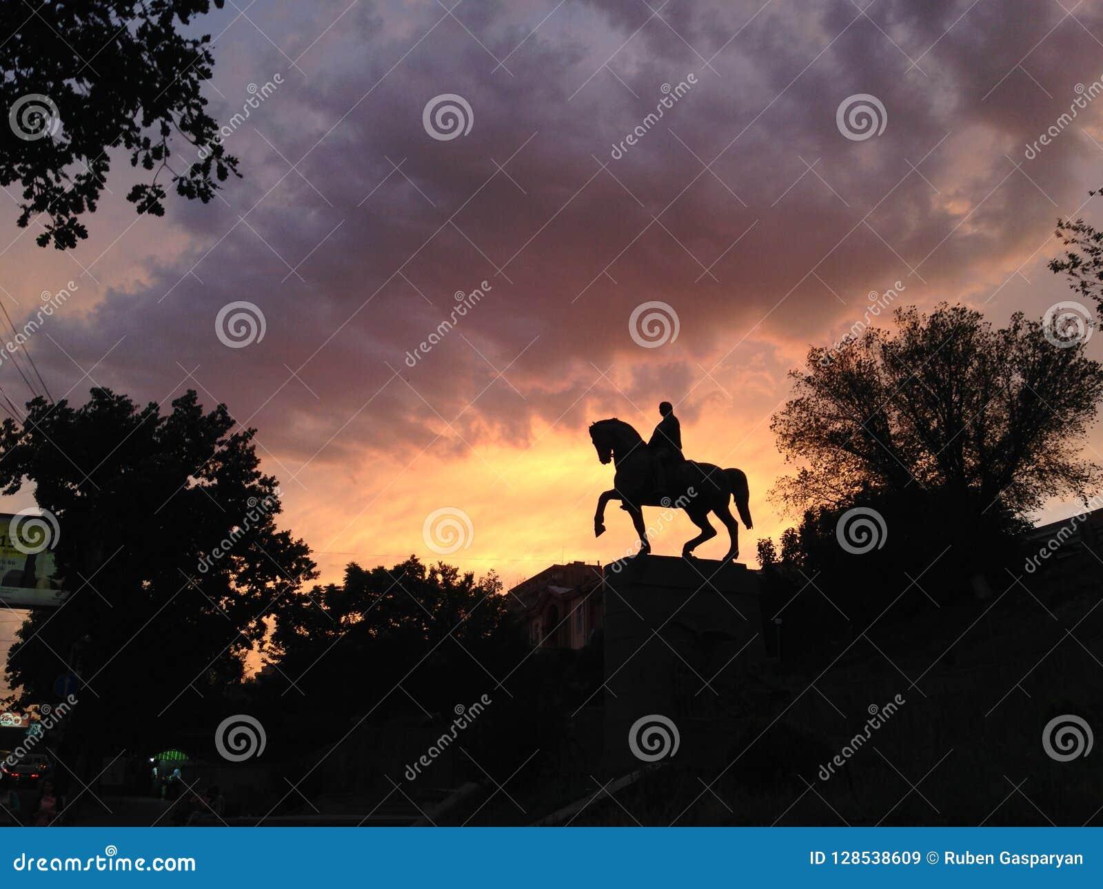 Silhouette of monument of horseman