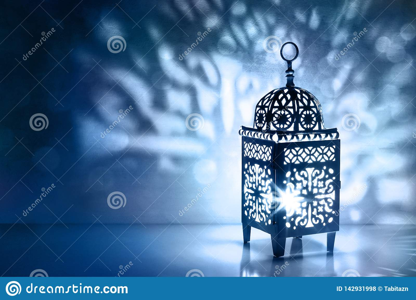 Silhouette Of Moroccan Lantern With Burning Glowing Candle Decorative Shadows Festive Greeting Card Invitation For Stock Photo Image Of Holy Glow 142931998